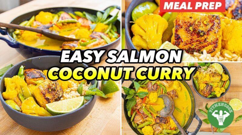 Meal Prep – Easy Salmon & Veggie Medley Coconut Curry